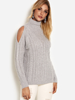 Grey Cut Out High Neck Long Sleeves Knitted Sweater
