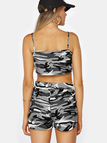 Camouflage V-neck Sleeveless Top And Stretch Waist Shorts Two Piece Outfits