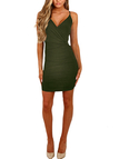 Army Green Crossed Front V-neck Mini Dress