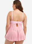 Plus Size Pink Lace Detail Babydoll With Thong