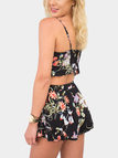 Random Floral Print Tie Front Crop Top and High-waisted Shorts Co-ord