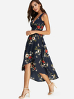 Navy Lace-up Design Random Floral Print V-neck Sleeveless Dresses