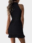 Black Lace Cut Out Design High Neck Sleeveless Dress
