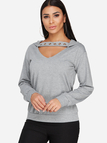 Grey Cut Out V-neck Long Sleeves Hooded Design Sweatshirt