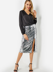 Silver Sequins Embellished Slit Hem Skirt