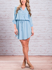 Light Blue V-neck Self-tie Curved Hem Dress