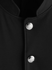 Black Single Breasted Design Stand Collar Coat With Patch Pockets