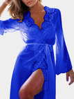 Blue Lace Trim See-Through Long Sleeves Pajamas with Belt