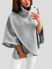 Grey Chimney Collar Flared Sleeves Irregular Hem Sweater