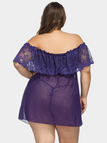 Plus Size Purple Lace Trim Off Shoulder Babydoll with Thong