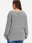 Plus Size Grey Self-tie Button Front Knit Sweater