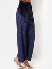 Blue Wide Leg Tight Waist Velvet Pants