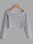 White Deep V-Neck Long Sleeves Striped Crop Top