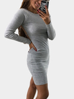 Grey Backless Design Long Sleeves Bodycon Dress