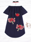 Navy Embroidered Off The Shoulder Mini Dress