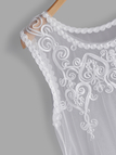 Plus Size White Embroidered See-through Design Lace Tank