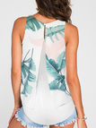 White Slit Design at Back Random Leaf Print Sleeveless Tank Top