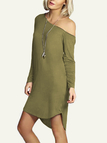 Army Green One Shoulder Curved Hem Mini Dresses