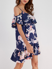 Floral Print Dress in Navy With Cold Shoulder Design