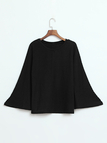 Casual Knitted Loose Round Neck Top in Black