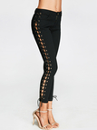 Black Side Lace-up Tapered Denim Pants with Zipper Fastening