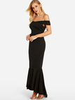 Black Sexy Off The Shoulder Fishtail Hem Maxi Dress