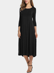 Black Round Neck 3/4 Length Sleeves Maxi Dress