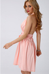 Pink Halter Neck Backless Lace Insert Dress with Bowknot