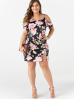 Plus Size Random Floral Print Slit Design Cold Shoulder Dress