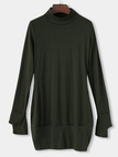 Army Green Roll Neck Casual Dress with Two Side Pockets