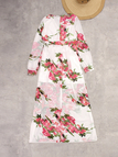White and Red Random Floral Print V-neck Long Sleeves Maxi Dress