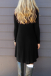 Black Round Neck Midi Dress With Irregular Hem
