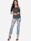 Grey Cut Out Plain Cold Shoulder Short Sleeves T-shirts