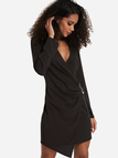 Black Wrap Design Crossed Collar Long Sleeves Dress