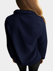 Navy Side Pockets Long Sleeves Outerwear