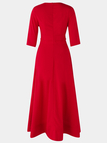 Red Deep V Neck Half Sleeves Swing Party Dresses