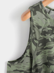 Green Camouflage Knotted Fashion T Shirt