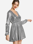 Silver Puff Sleeves V Neck Shiny Party Dresses