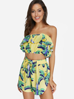 Yellow Floral Print Tube Top & High-waisted Shorts Two Piece Outfits