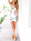 Sexy Floral Print Sleeveless Dress with Halter