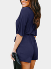 Navy Crossed Front Design V-neck 3/4 Length Flared Sleeves High-waisted Playsuit