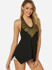 Black Backless sequins embellished Design Halter Irregular Hem Camis
