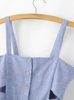 Blue Button Fastening Cute Dress With Suspenders