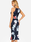 Navy Zip Design Random Floral Print Halter Sleeveless Flounced Hem Dress