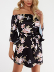 Black Lace-up Design Floral Print Off The Shoulder Long Sleeves High-waisted Dress