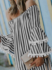 Black Off-The-Shoulder Flared Sleeved Striped Mini Dress
