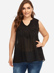 Plus Size Black Lace Insert V-neck Tank