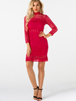 Red Lace Hollow Design High Neck Long Sleeves Dress