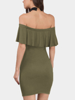 Army Green Flap Over Detail Off Shoulder Mini Dresses