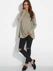 Taupe Twist Round Neck Long Sleeves Irregular Hem T-shirt